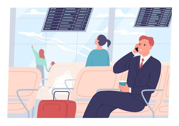 사업가는 공항에 앉아 전화 통화를 한다