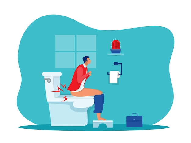 Businessman sits on toilet bowl with his stomach ache and possibly a bowel disease vector