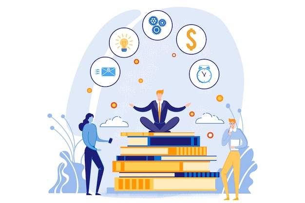 Businessman sitting on big books pile with icons