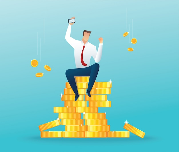 Businessman sitting on big money and coins