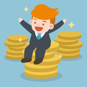 Businessman sitting on a big pile of money coin. success business people concept