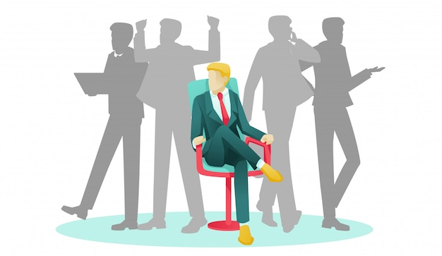Businessman sitting on chair and human silhouettes