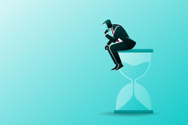 Businessman sitting on the hourglass while thinking something