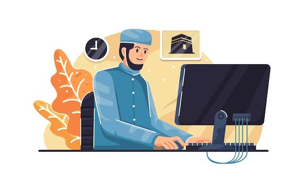 컴퓨터에서 작업하는 사무실 책상에 앉아 사업