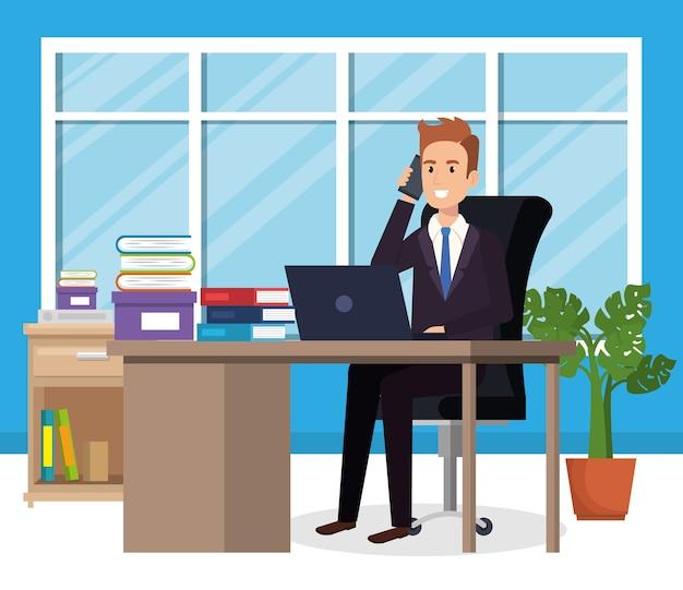 Businessman sitting in the office vector illustration design