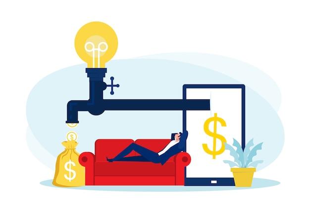 Бизнесмен, сидя на диване, расслабляясь и пассивно зарабатывая деньги. финансы, инвестиции, богатство, пассивный доход. концепция работы офиса