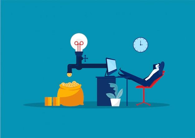 Бизнесмен сидит, расслабляющий и пассивно зарабатывать деньги. финансы, инвестиции, богатство, пассивный доход. концепция работы офиса