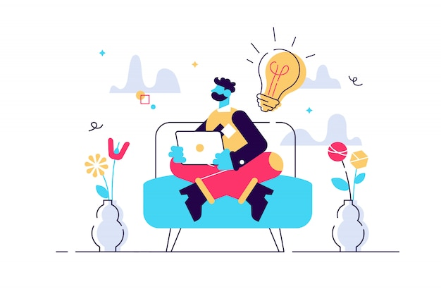 Businessman sitting on the sofa works with laptop, freelancer, freelance, internet surfing on computer, online learning, e-learning, work from home, outsourcing, social media, illustration.