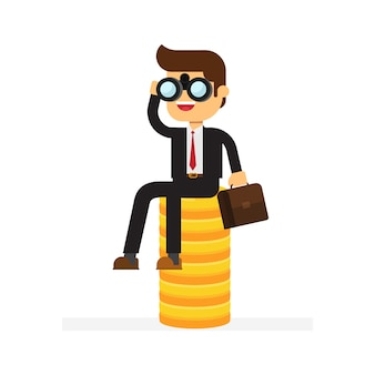 Businessman sitting on stack of gold coins