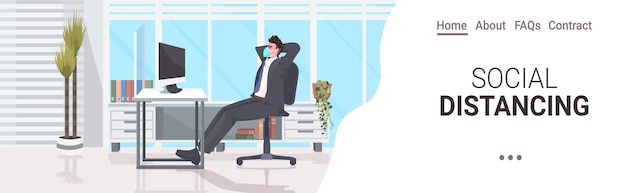 Businessman sitting at workplace desk social distancing coronavirus epidemic protection self isolation remote work concept office interior horizontal copy space