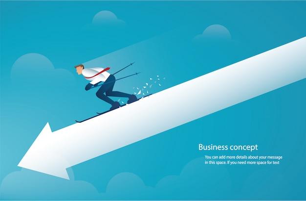 Businessman ski on arrow down