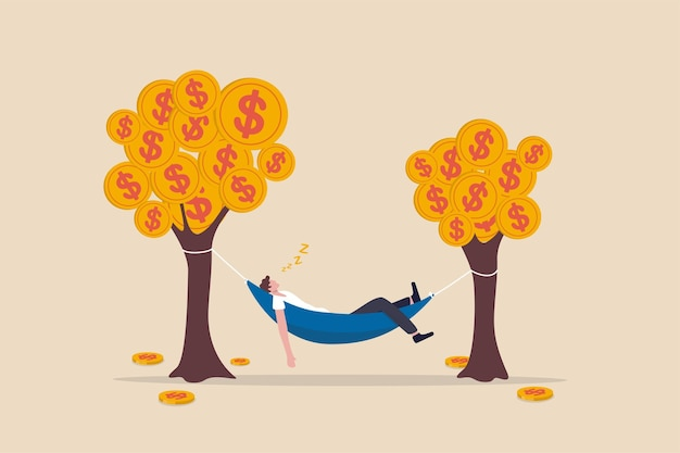 Businessman sleeping in hammock tied on money tree with dollar coins