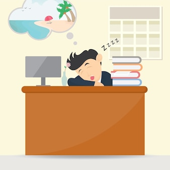 Businessman sleeping at work character cartoon vector design