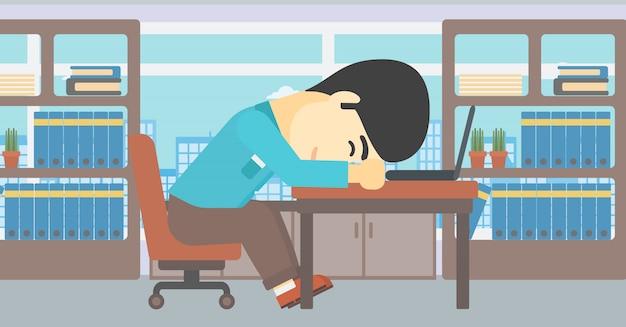 Businessman sleeping on workplace.