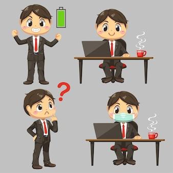 ビジネスマンの笑顔と白い背景の上の漫画のキャラクターのフラットなイラストで働くフルエネルギーの保護マスクを身に着けている一人の男