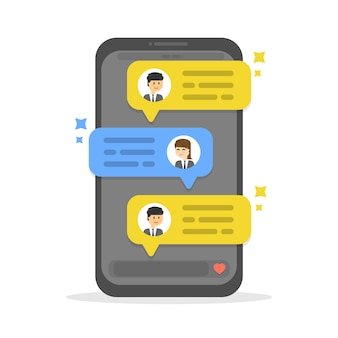Businessman social chat, dialogue speech bubbles, social networks, chat
