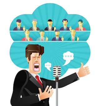 Бизнесмен речи с микрофоном, бизнесмен, выступая перед толпой людей