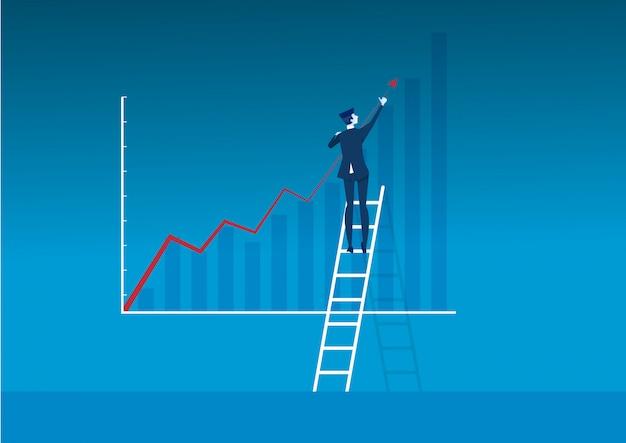 Лестница бизнесмена делает диаграмму прямого роста к концепции дела успеха. иллюстратор