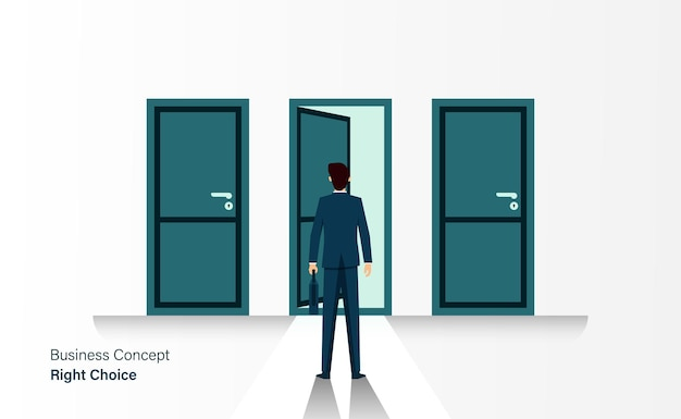 Businessman stand in front of 3 doors, right choice concept