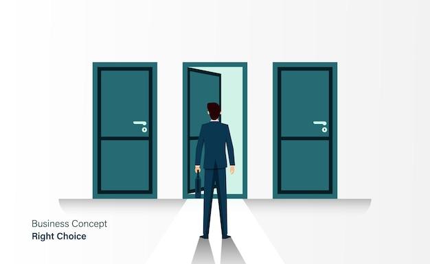 Бизнесмен стоит перед 3 дверями, концепция правильного выбора