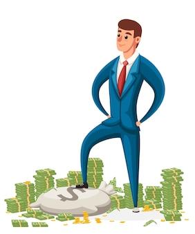 ビジネスマンはお金の山の上に立ちます。紺のスーツのビジネスマン。キャラクター 。