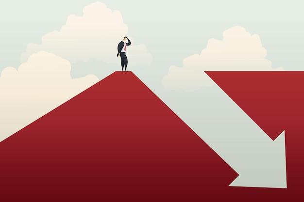 사업가는 화살표 그래프 이익 손실 위기와 재정적 손실을 아래로 양쪽에 서 있습니다.