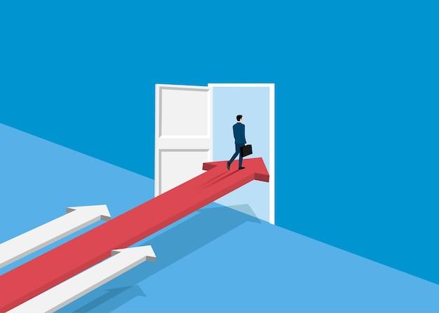 ビジネスマンは矢印の上に成功に立ち、ドアを開けます。スタートアップのシンボル、ビジネスファイナンスの概念、成果、リーダーシップ、ベクトルイラストフラットスタイル