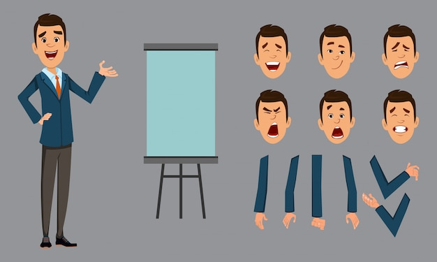 Businessman stand with presentation board. businessman character with different face emotions and hands