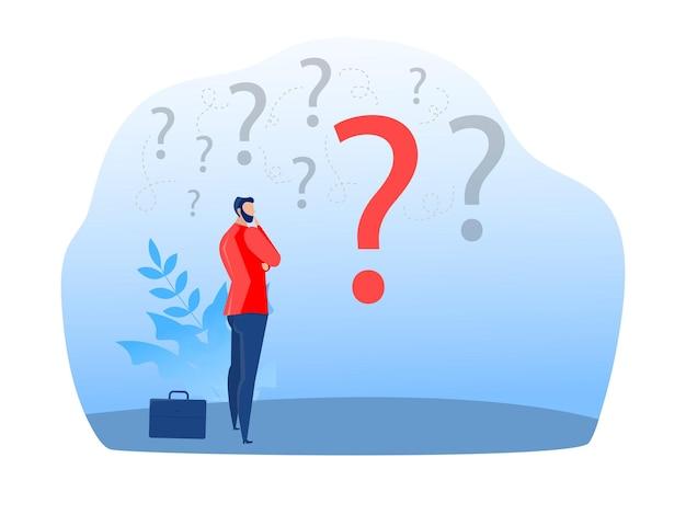 Бизнесмен, стоя и выбирая стратегию работы для успеха вопросы дилеммы