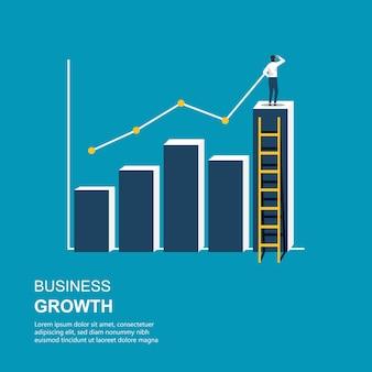 立っているビジネスマンと線図イラストを描きます。棒グラフによるビジネスの成長。