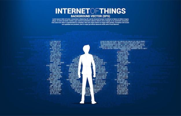 ビジネスマンの地位と1と0のバイナリグラフィックスタイルからのiotの言葉遣い。モノのインターネット技術のデジタルコンセプト。
