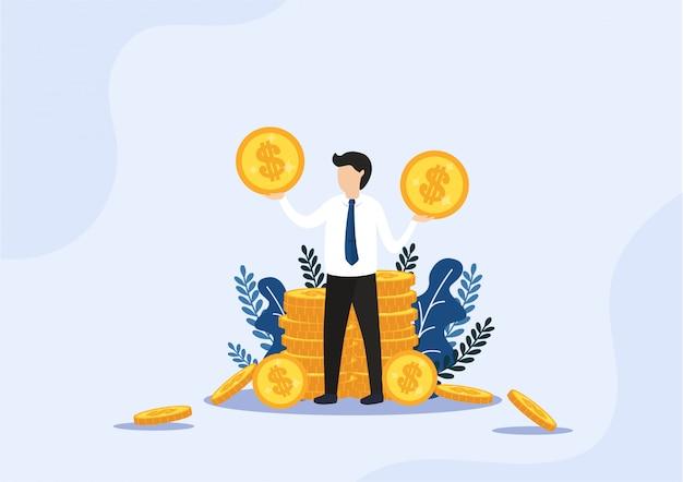 Бизнесмен, стоящий у золотых стопок монет