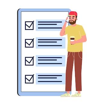 大きなチェックリストに立っているビジネスマン。紙のキャラクターチェックプラン。図