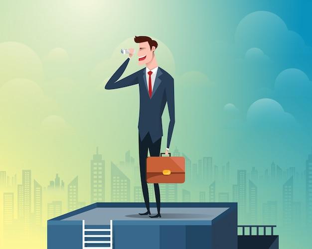 双眼鏡を持って建物の上部に立っているビジネスマン、背景は高層ビルで満たされた大都市です。図。