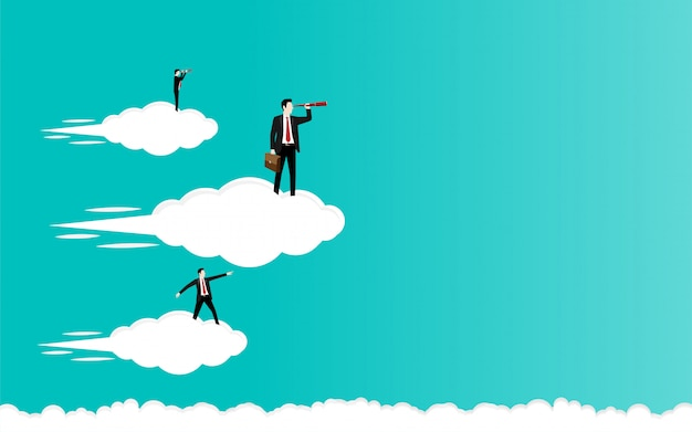 Businessman standing on a cloud flying in the sky