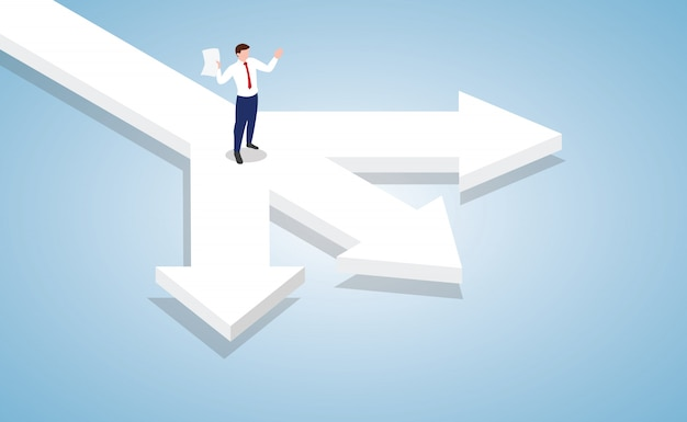 Businessman standing at the cross roads of business decision with modern isometric style