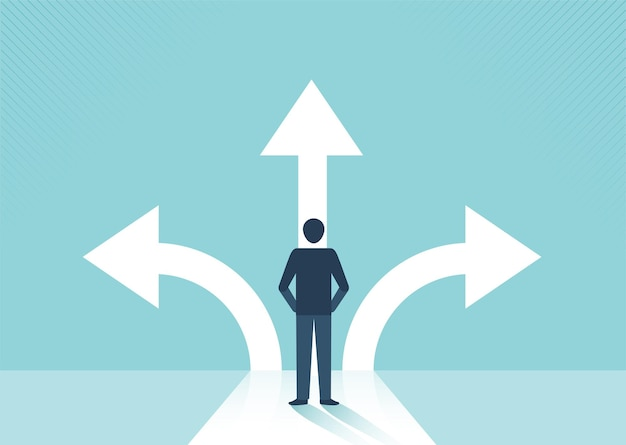 Businessman standing on the crossroads with arrows different direction and success concept vector