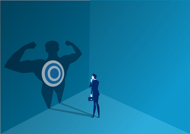 Businessman standing to decide with strong power to goal concept illustrator vector