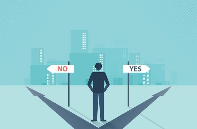 Businessman standing in the direction of the crossroads chose business decisions concept