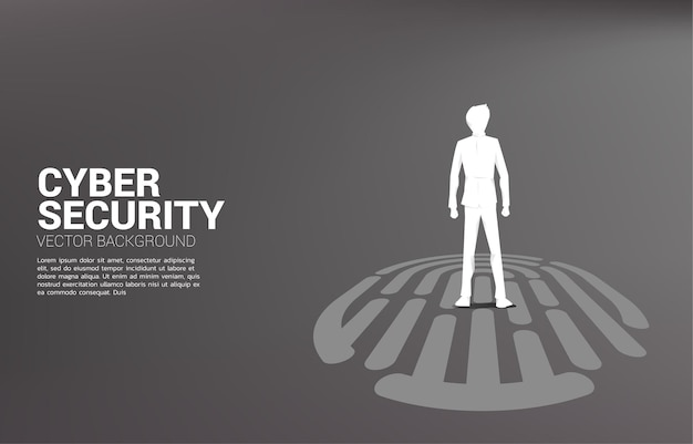 Businessman standing on finger scan icon. background illustration for security and privacy technology on network