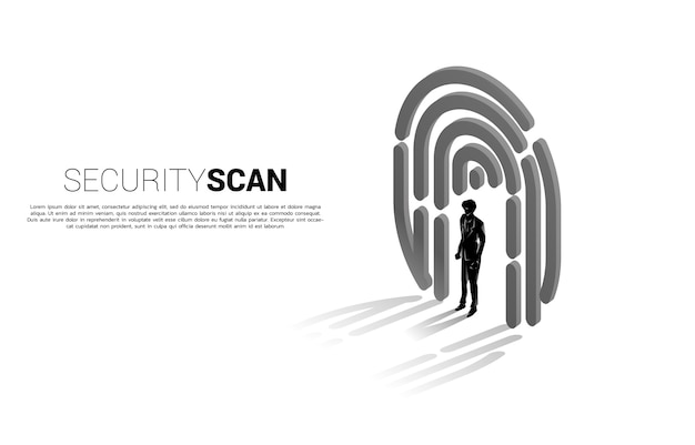 Businessman standing in finger scan icon.