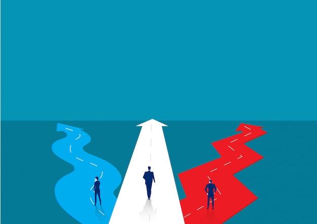 方法を選択するために立っているビジネスマン。ビジネスの成功の概念。図。