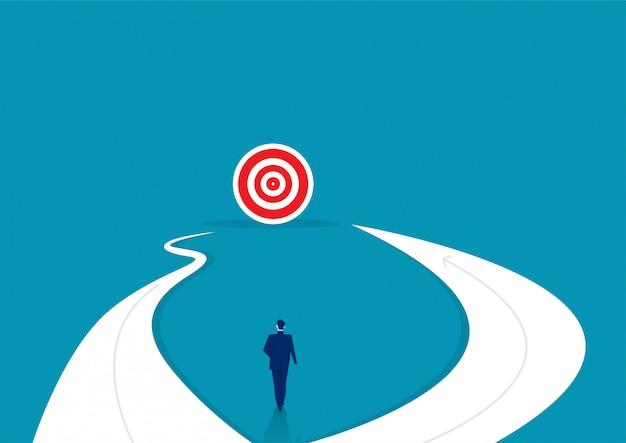 방법을 선택을 위해 서있는 사업가. 비즈니스 성공 개념입니다. 벡터 일러스트 레이 션.