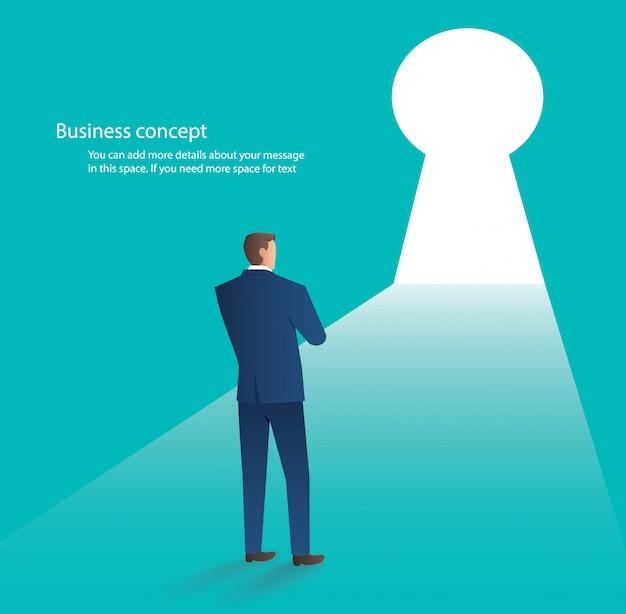Businessman standing in front of key hole door