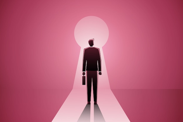 A businessman standing in front of a keyhole