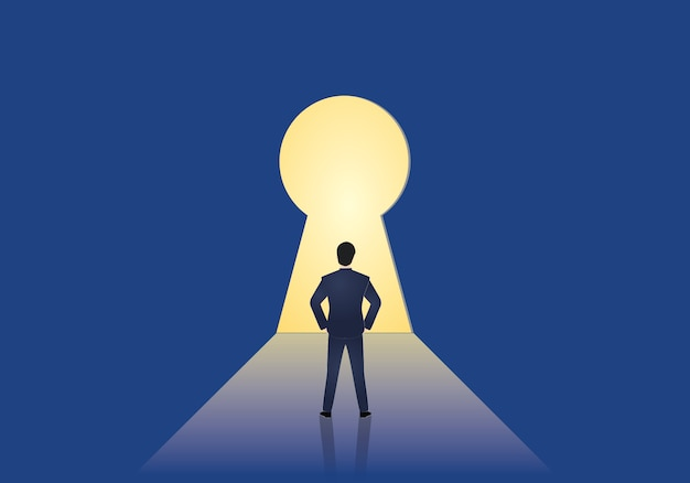 Businessman standing in front of a keyhole