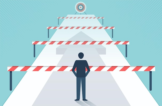 Businessman standing in front of many obstacles and barriers on the way to success vector design.
