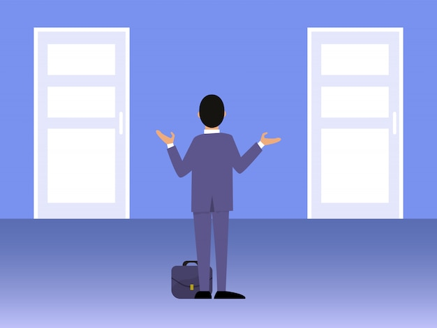 Businessman standing in front of two doors illustration.