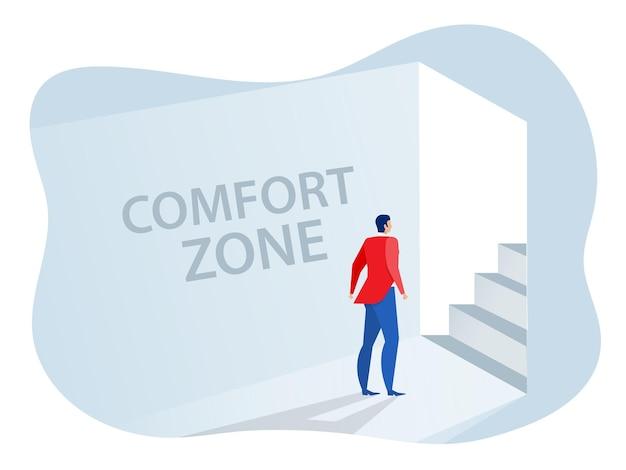 Постоянный бизнесмен выходит из круга комфорта для нового вектора концепции зоны комфорта успеха