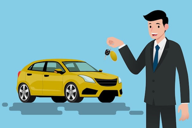 Businessman standing and holding a key of brand new car